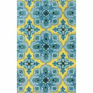 nuLOOM Handmade Lattice Blue Wool Rug (7'6 x 9'6)