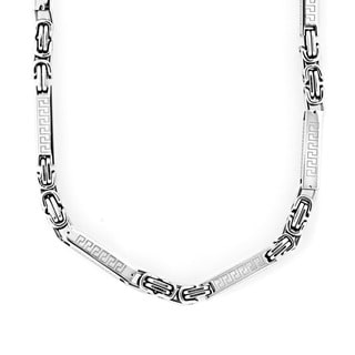 Stainless Steel Square Cylinder Tribal Link Necklace
