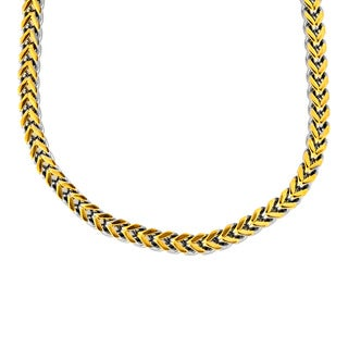 Goldplated Stainless Steel Box Weave Link Necklace