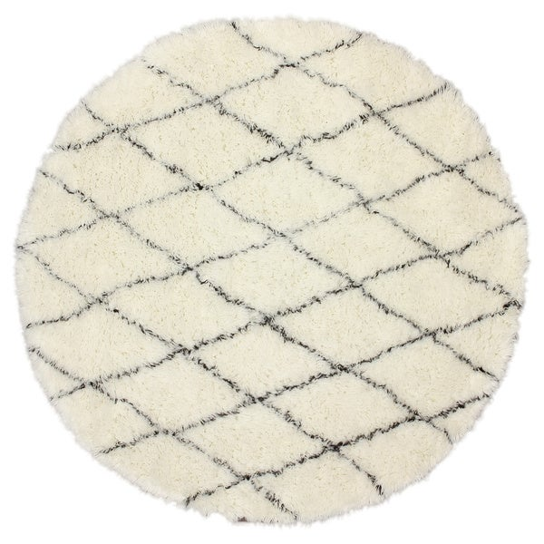 nuLOOM Handmade Moroccan Trellis Wool Shag Rug (6' Round)