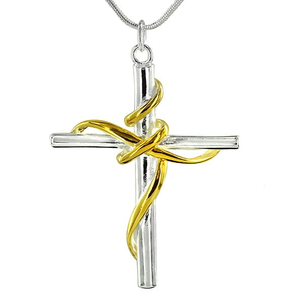 West Coast Jewelry Gold and Silver Overlay Tube Cross and Ribbon Necklace