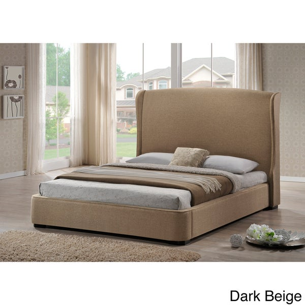 Baxton Studio Sheila Linen King Size Bed With Upholstered Headboard