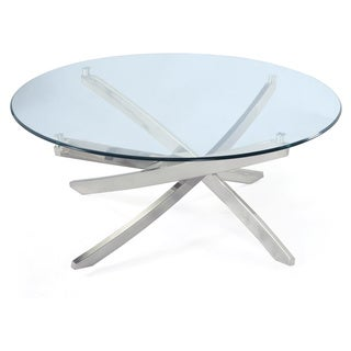 Zila Contemporary Brushed Nickel Round Coffee Table with Glass Top