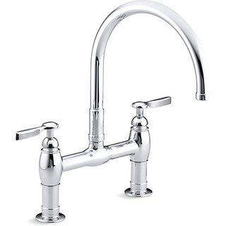 Parq Deck-mount Polished Chrome Kitchen Bridge Faucet