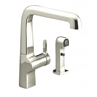 Evoke Single Control Vibrant Polished Nickel Kitchen Sink Faucet with Sidespray