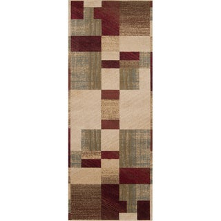 Woven Puzzle Burgundy Contemporary Geometric Rug (3' x 8')