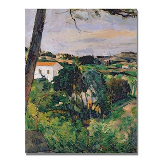 Paul Cezanne 'Landscape with Red Roof' Canvas Art