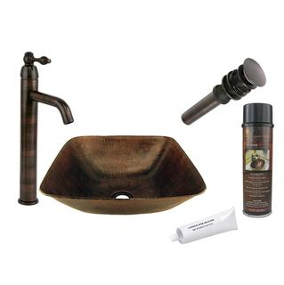Premier Copper Products Single Handle Hammered Copper Surface Vessel Faucet Package