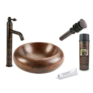 Premier Copper Products Single Handle Double Walled Hammered Copper Vessel Faucet Package