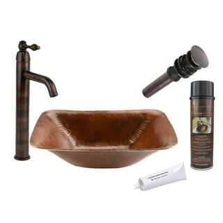 Premier Copper Products Rectangular Single-Handle Hammered Copper Surface Vessel Faucet Package