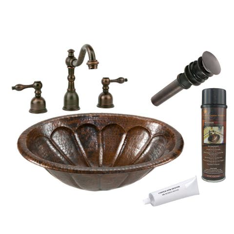 Handmade Widespread Hammered Copper Sunburst Faucet Package (Mexico)