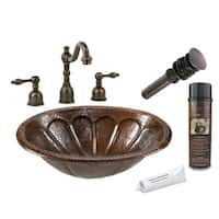 Premier Copper Products Widespread Hammered Copper Sunburst Faucet Package