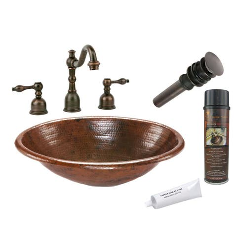 Handmade Widespread Oval Hammered Copper-Surface Faucet Package (Mexico)