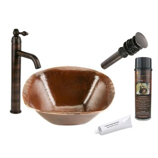 Premier Copper Products Single Handle Vessel Hammered Copper Surface Faucet Package