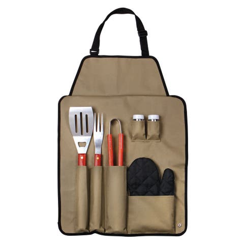 Outdoor 7-piece Barbecue Apron and Utensil Set - 1.25 x 16.5 x 23.75