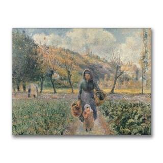 Camille Pissarro 'In the Garden' Canvas Art