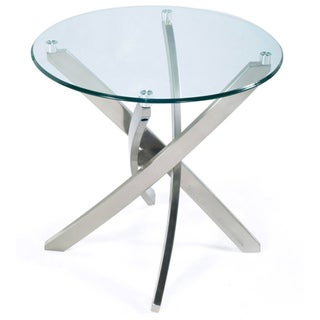 Zila Contemporary Brushed Nickel Round End Table with Glass Top - Silver