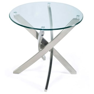 Zila Contemporary Brushed Nickel Round End Table with Glass Top