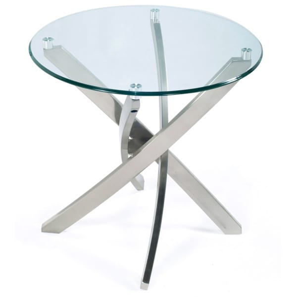 Attirant Zila Contemporary Brushed Nickel Round End Table With Glass Top