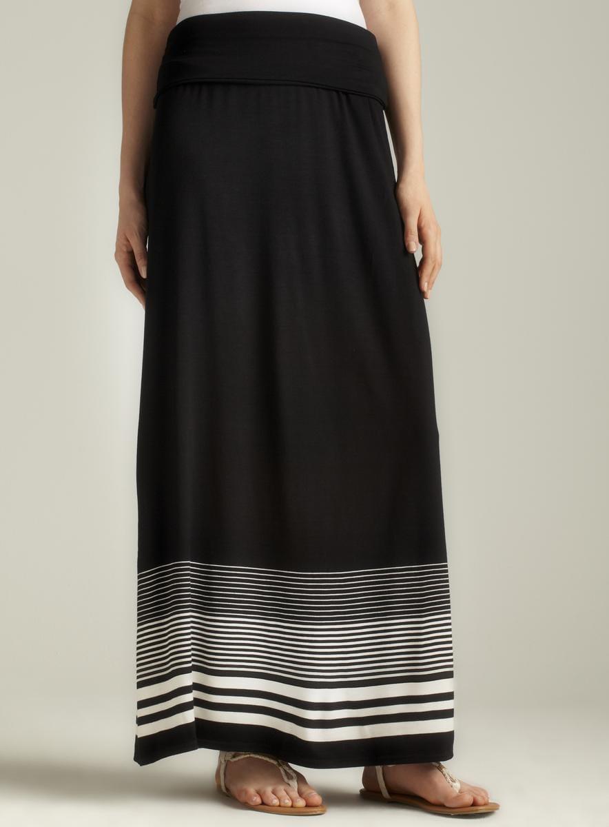 Max Studio Striped Hem Foldover Maxi Skirt