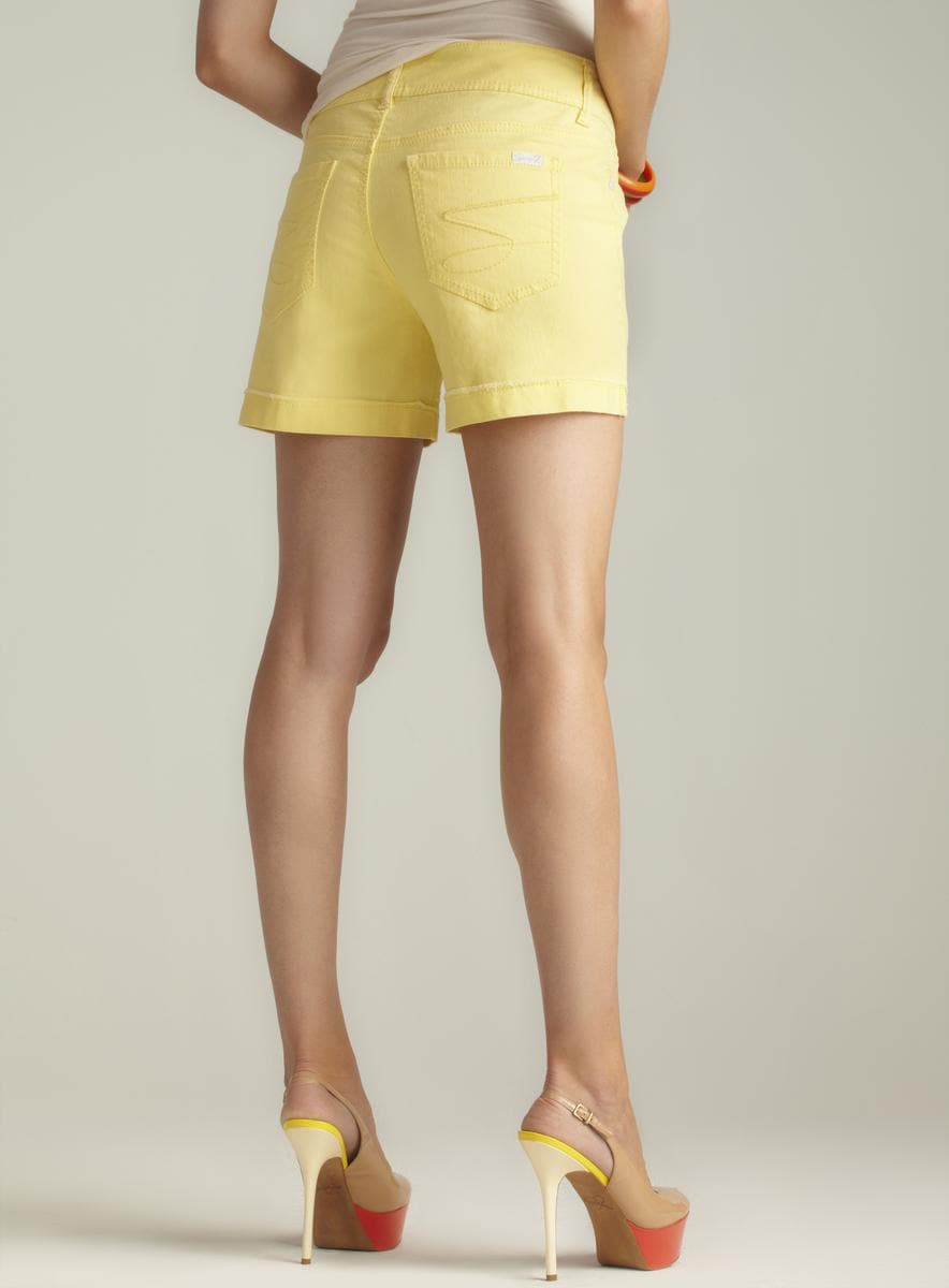 Seven7 Lemon Yellow Cuffed Denim Shorts - Thumbnail 1