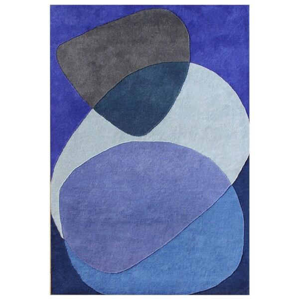 Alliyah Handmade Dazzling Blue Blue New Zealand Blend Wool Rug (8x10)