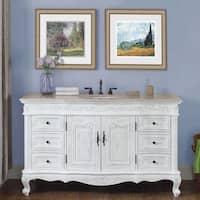 Silkroad Exclusive 60 Inch Cream Marfil Marble Stone Top Bathroom Single Vanity Sink