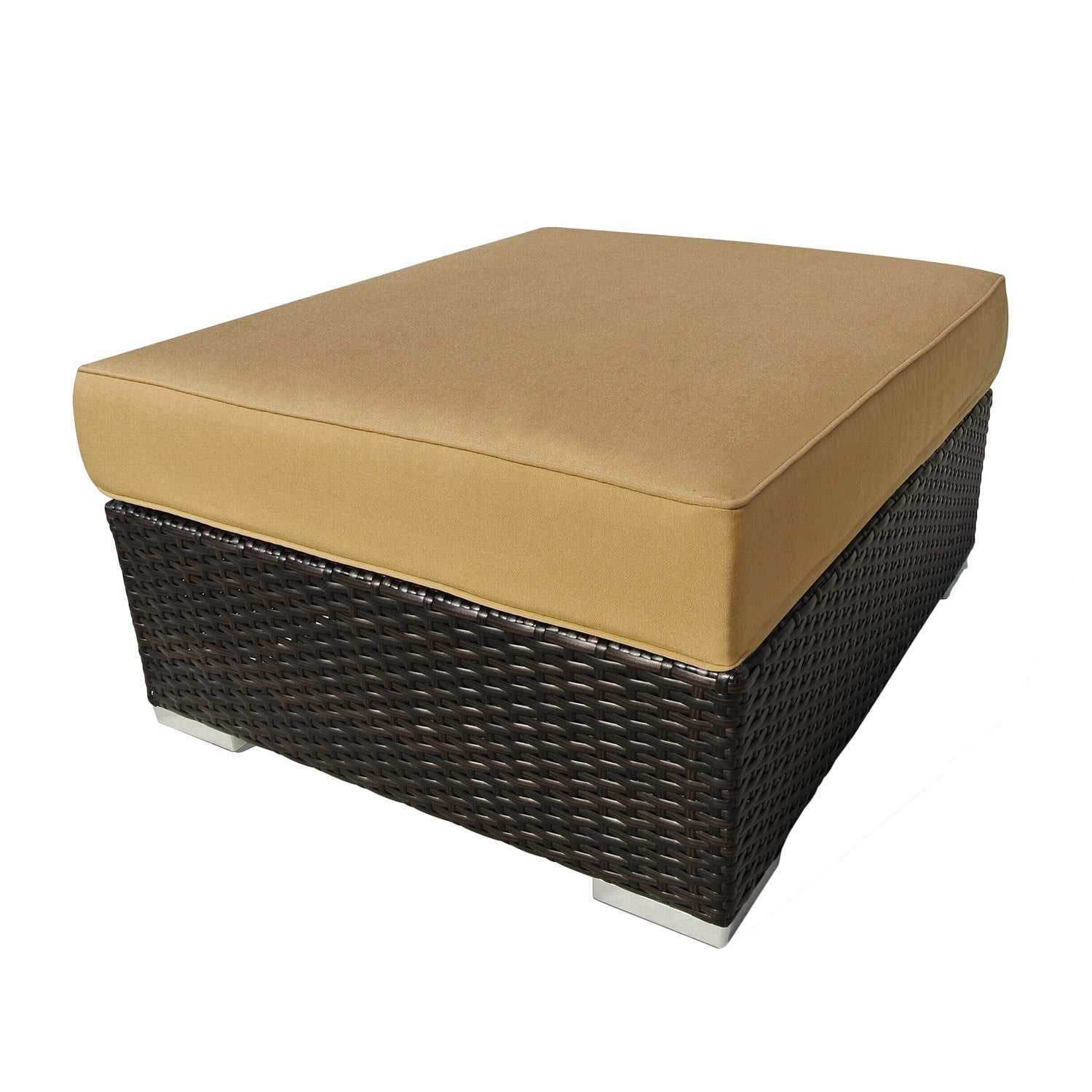 Corvus Morgan Outdoor Wicker Ottoman with Sunbrella Cushi...