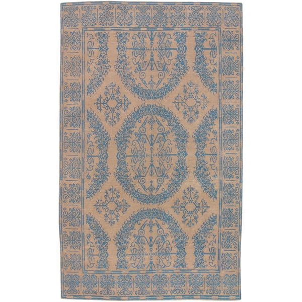 Hand-knotted Analise Blue New Zealand Wool Transitional Bordered Area Rug (5' x 8')