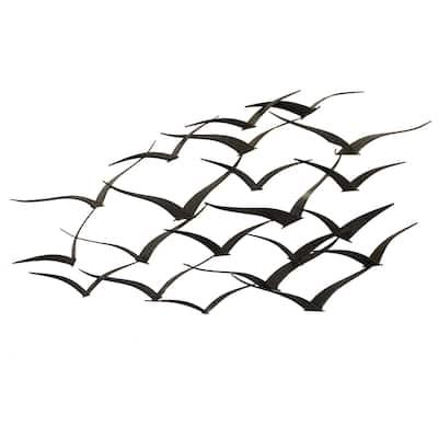Handcrafted Flock of Metal Flying Birds Wall Art