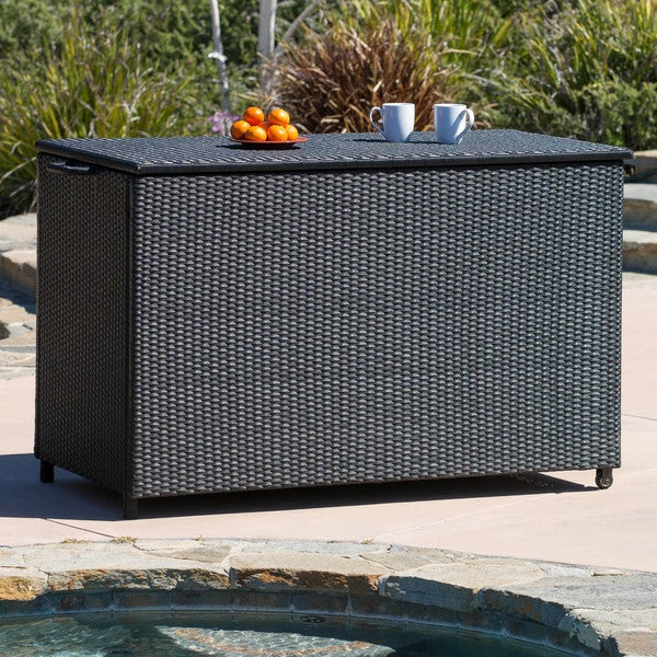 Large Black Wicker Cushion Box by Christopher Knight Home