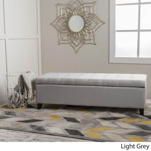 Mission Tufted Fabric Storage Ottoman Bench by Christopher Knight Home