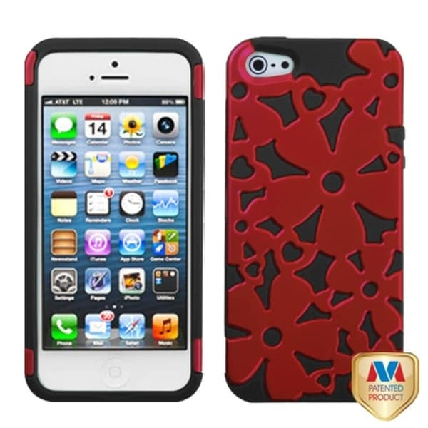 INSTEN Titanium Red/ Black Flowerpower Hybrid Phone Case for Apple iPhone 5/ 5S/ SE
