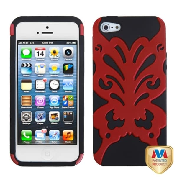 INSTEN Red/ Black Butterfly Kiss Hybrid Phone Case for Apple iPhone 5/ 5S/ SE