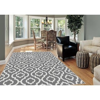 Alise Metropolis Moroccan Tile Pattern Grey/ White Area Rug (7'10 x 10'3)