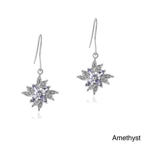 Glitzy Rocks Multi-gemstone and Diamond Accent Dangle Flower Earrings