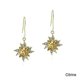 Link to Glitzy Rocks Multi-gemstone and Diamond Accent Dangle Flower Earrings Similar Items in Earrings