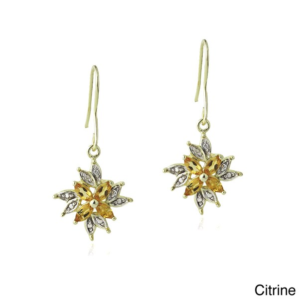 Glitzy Rocks Multi-gemstone and Diamond Accent Dangle Flower Earrings. Opens flyout.