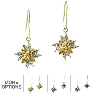 Glitzy Rocks Multi-gemstone and Diamond Accent Dangle Flower Earrings