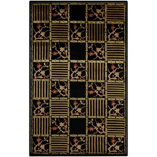 Hand-knotted Bai Black Semi-Worsted New Zealand Wool Transitional Floral Rug (5' x 8')