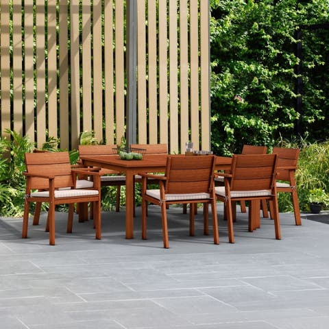 Amazonia Albany 9-piece Eucalyptus Wood Square Dining Set with Cushions