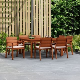 Amazonia Albany 9-piece Euclyptus Wood Square Dining Set with Beige and Off-white Cushions