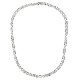 Kate Bissett Silvertone Trillion-cut Cubic Zirconia 'Divinity' Necklace