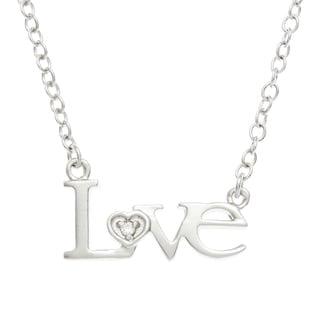 Kate Bissett Silvertone Cubic Zirconia 'Love' Necklace