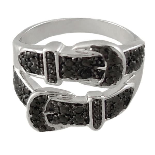 Finesque Silverplated Black Diamond Accent Double Row Belt Buckle Ring