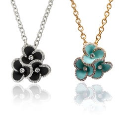 Riccova Goldtone or Silvertone Crystal Triple Flower Necklace