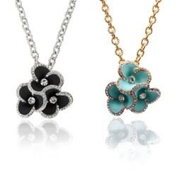 Riccova Goldtone or Silvertone Crystal Triple Flower Necklace