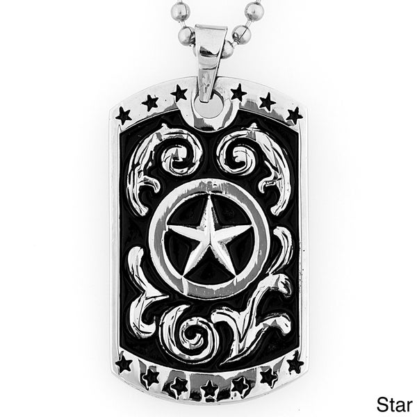 Stainless Steel Antiqued Patriotic Dog Tag Necklace