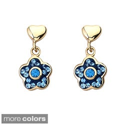 Molly Glitz 14k Goldplated Children's Crystal Flower Earrings