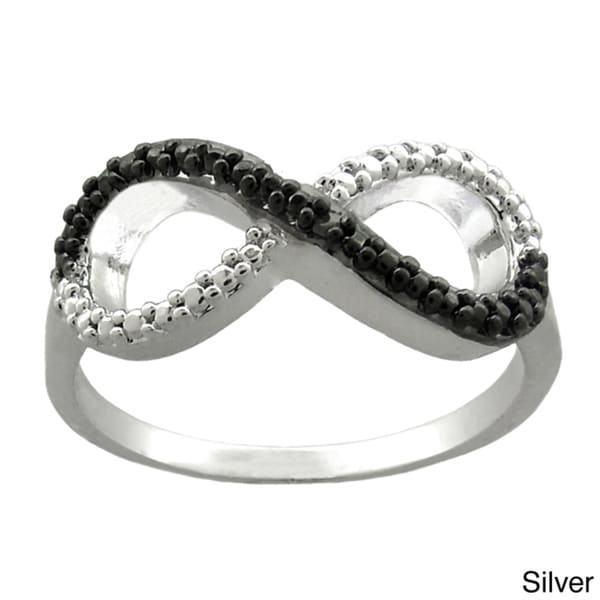 Finesque 18k Gold or Silver Overlay Diamond Accent Infinity Ring